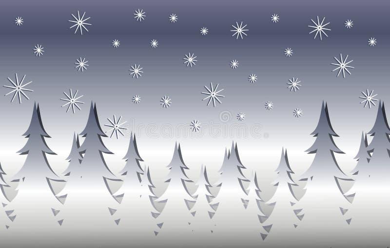 Scène argentée d'arbre de Noël de l'hiver illustration stock