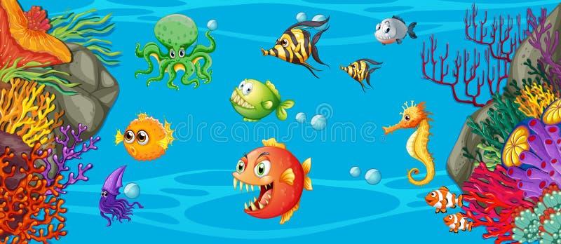 Scène avec beaucoup poissons sous-marins illustration libre de droits