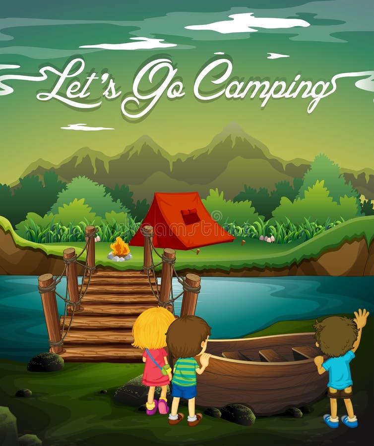 Scène avec des enfants campant par la rivière illustration libre de droits