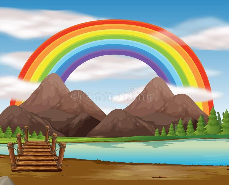 Scène avec l'arc-en-ciel au-dessus de la rivière illustration libre de droits