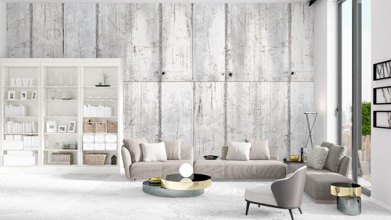 Scène avec l'intérieur tout neuf dans la mode avec le support blanc et le sofa gris moderne rendu 3d Disposition horizontale illustration stock