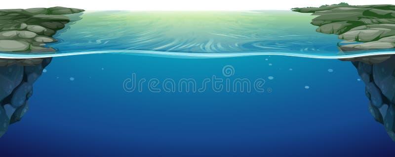 Scène avec la rivière bleue illustration stock