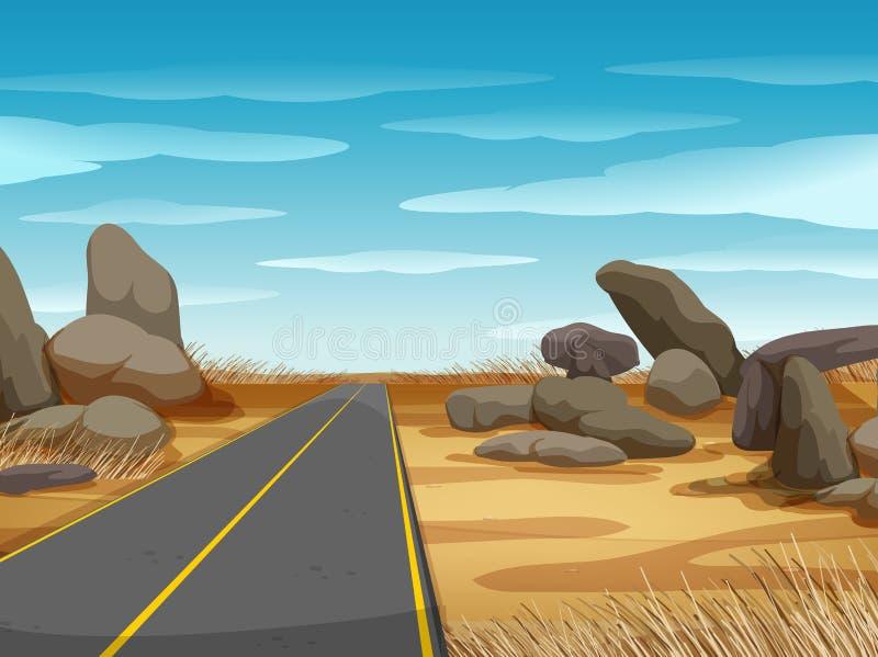 Scène avec la route dans la terre ferme illustration libre de droits