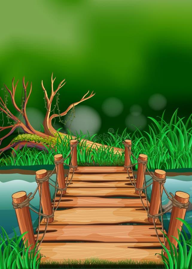 Scène avec le pont à travers la rivière illustration libre de droits