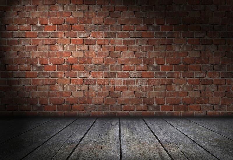 Scène avec le projecteur sur le fond rouge de mur de briques Pièce vide de briques avec le vieux plancher en bois illustration de vecteur
