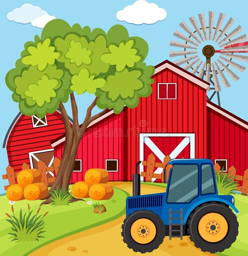 Scène avec le tracteur bleu à la ferme illustration de vecteur