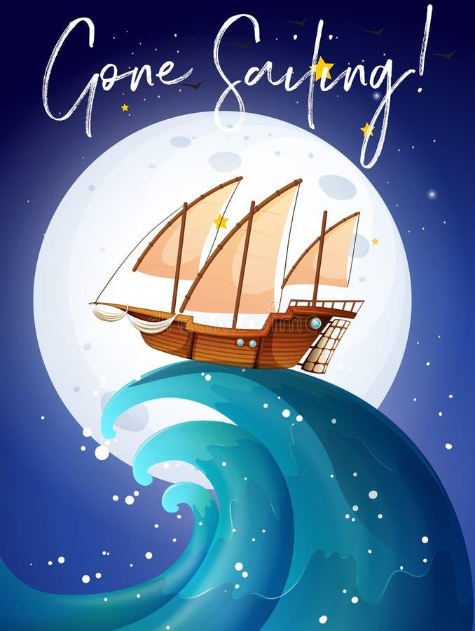 Scène avec le voilier dans l'océan illustration libre de droits