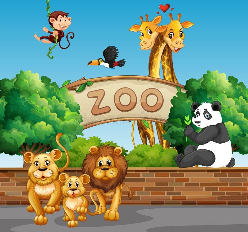 Scène avec les animaux sauvages au zoo illustration de vecteur