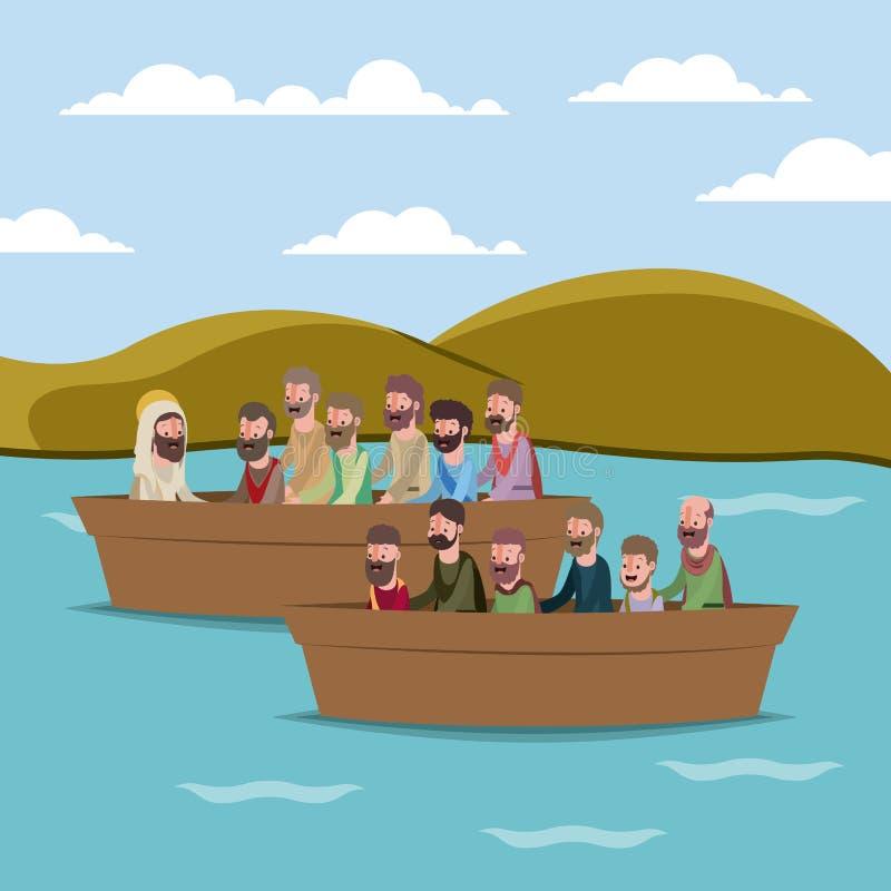 Scène biblique de semaine sainte illustration de vecteur