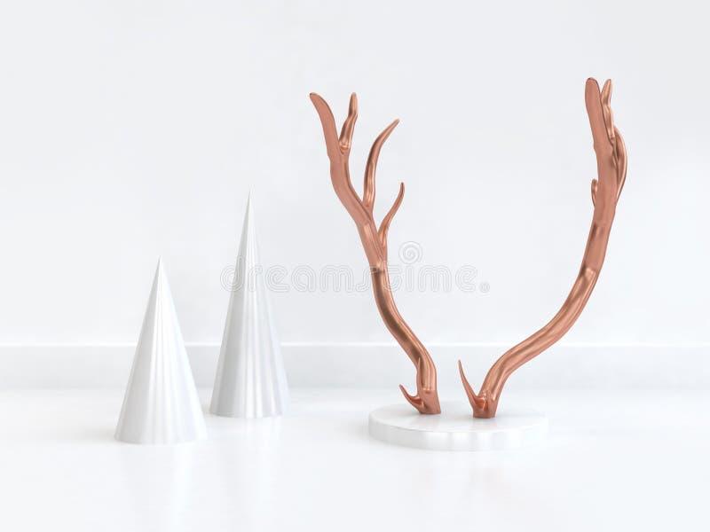 scène blanche abstraite de forme géométrique de klaxon et de cône de renne d'en cuivre du rendu 3d illustration de vecteur