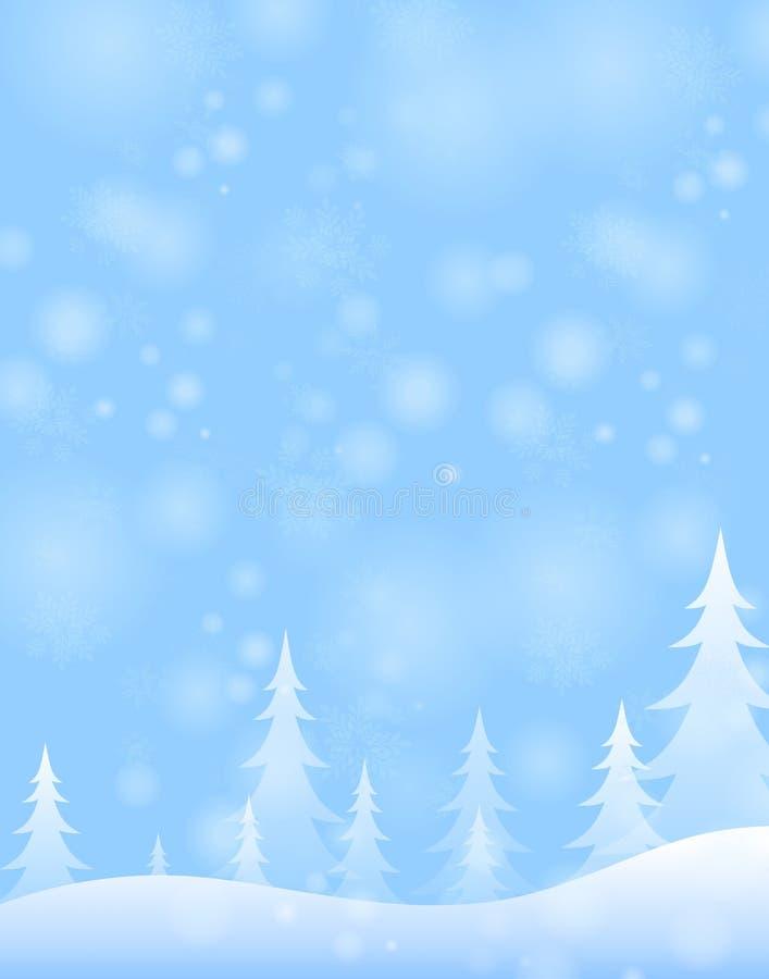 Scène bleu-clair de neige de l'hiver illustration de vecteur