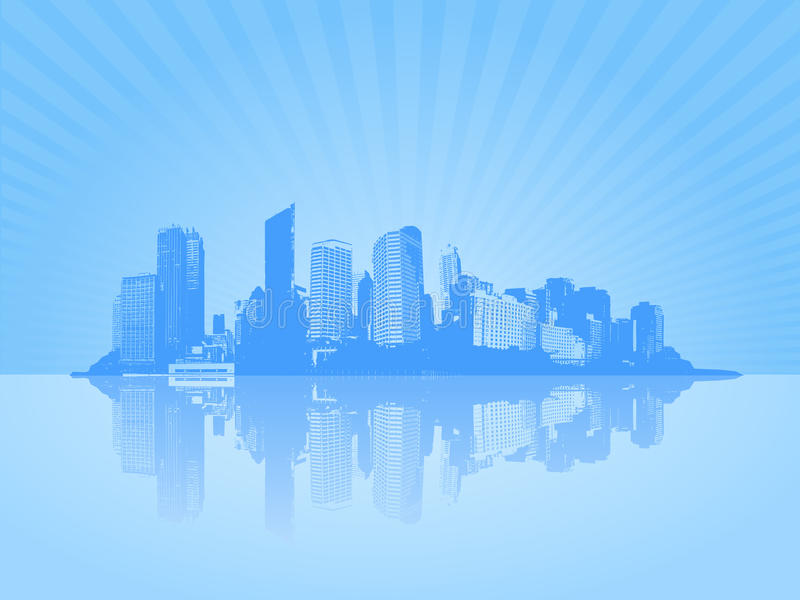 Scène bleue de ville avec le coucher du soleil. illustration de vecteur