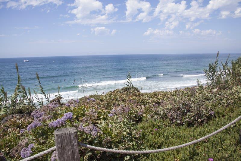 Scène côtière par les falaises et la plage chez Del Mar, San Diego, calorie image stock