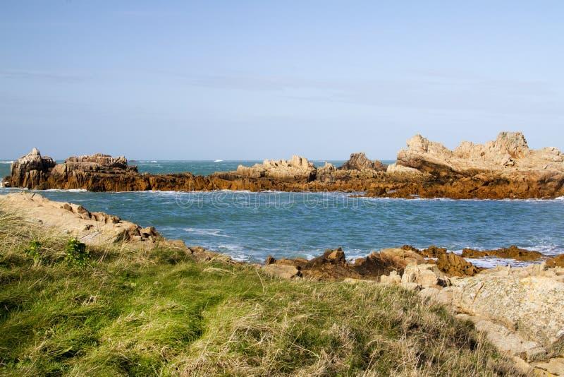 Scène côtière sur guernesey, Îles Anglo-Normandes images stock
