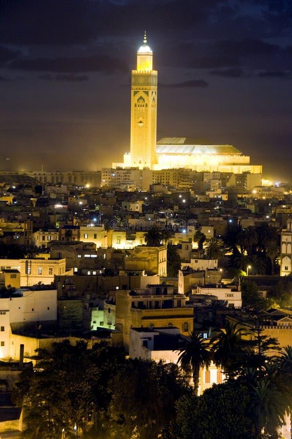 Scène Casablanca Maroc de nuit de mosquée de Hassan II photographie stock
