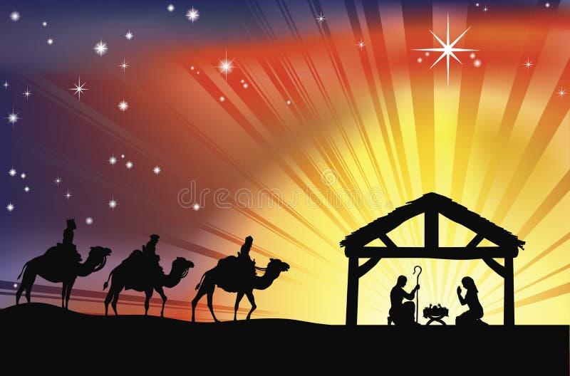 Scène chrétienne de nativité de Noël illustration libre de droits