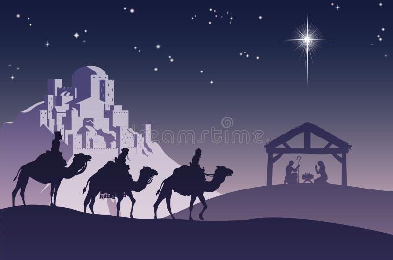 Scène chrétienne de nativité de Noël illustration stock