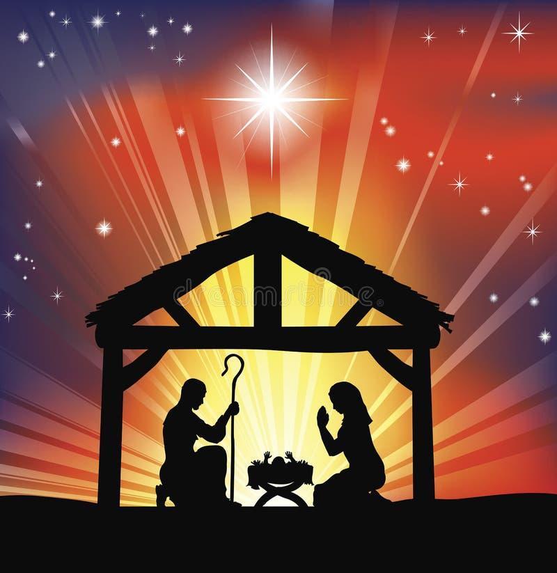 Scène chrétienne traditionnelle de nativité de Noël illustration stock