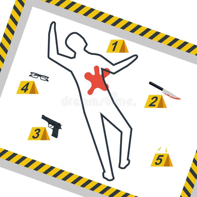 Scène criminelle Le danger attache du ruban adhésif au vecteur illustration de vecteur