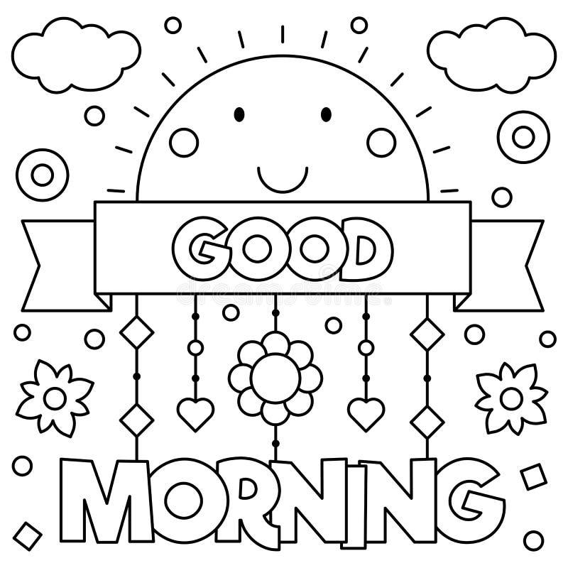 Scène démodée de matin : machine à écrire antique, cuvette de café frais, contrat d'affaires et crayon lecteur Page de coloration illustration de vecteur