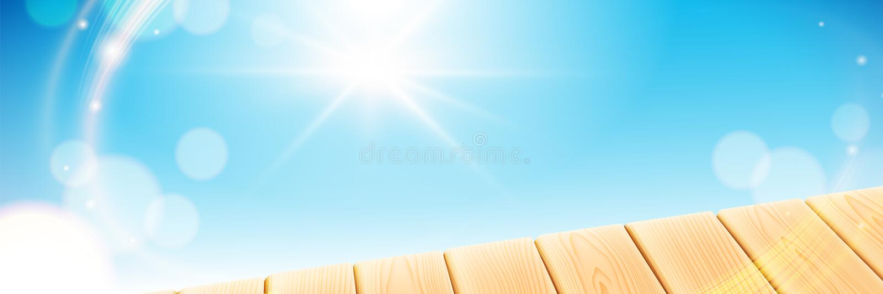 Scène d'été avec la table légère en bois Le ciel clair bleu avec le soleil rayonne sur le fond de bokeh Éléments de vecteur pour illustration stock