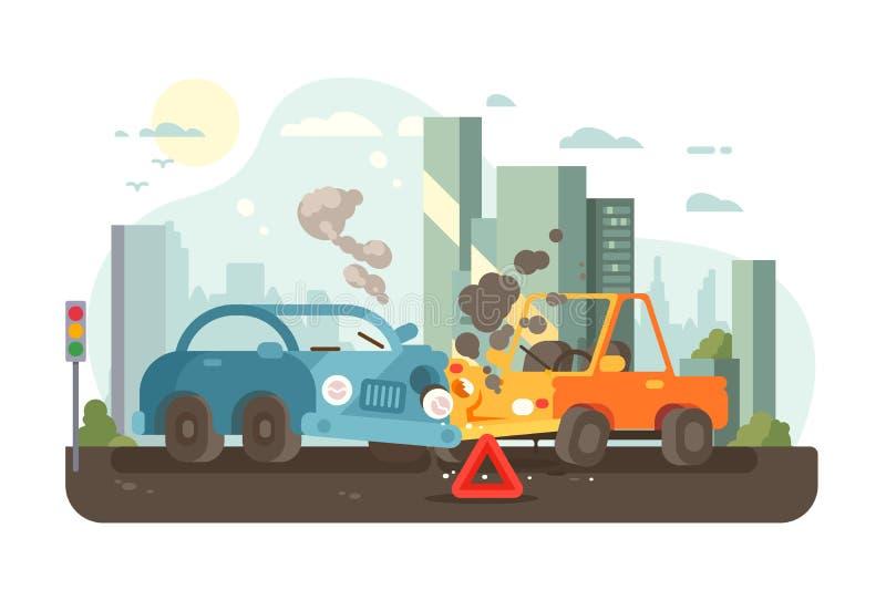 Scène d'accidents de circulation routière illustration libre de droits