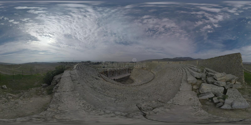 Scène d'amphithéâtre de 360 VR dans Hierapolis, ville antique turque photo stock