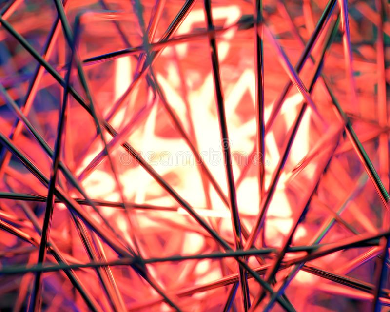 Scène 3d contrastée par résumé avec les lampes au néon images stock