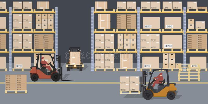 Scène d'entrepôt Entrepôt et chariots élévateurs Supports avec des boîtes et des conteneurs Processus logistique Vue industrielle illustration de vecteur