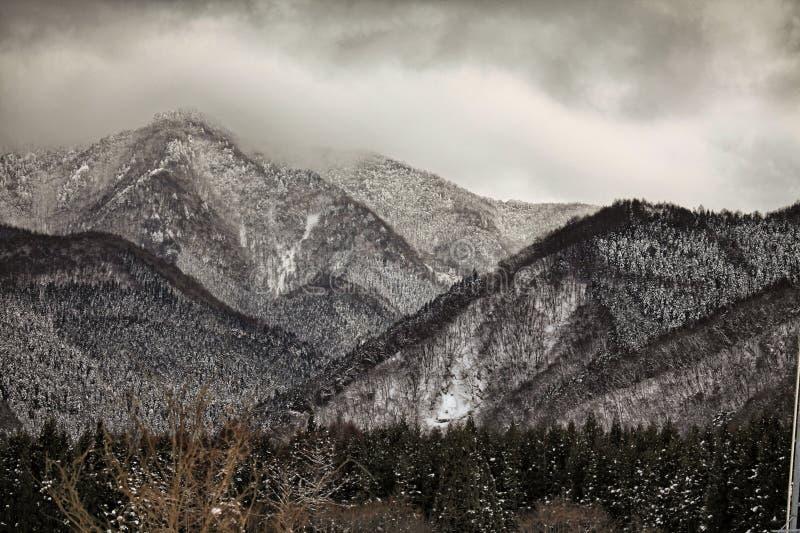 Scène d'hiver dans les alpes japonaises, préfecture de Nagano photos stock