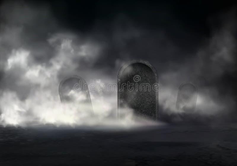 Scène d'horreur sur le vecteur réaliste de vieux cimetière illustration libre de droits