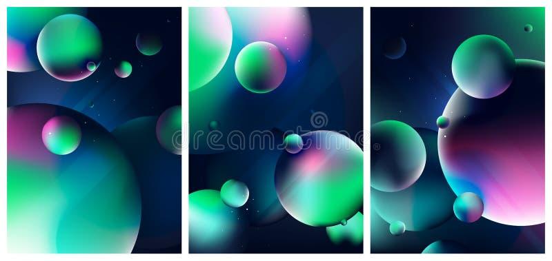 Scène d'imagination avec des planètes et des étoiles dans l'espace foncé, vue colorée de l'univers, ensemble de couvertures  illustration stock