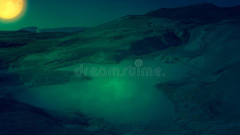 Scène d'imagination des fumerolles et des piscines de boue photos stock