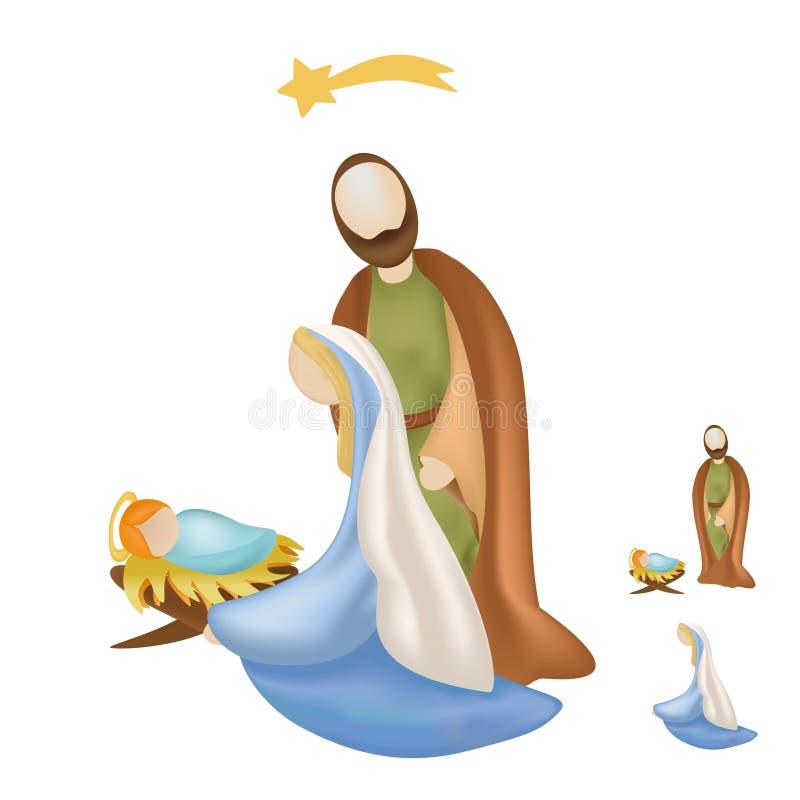 Scène d'isolement de nativité avec le petit morceau saint de famille Mary, Joseph et bébé Jésus illustration libre de droits