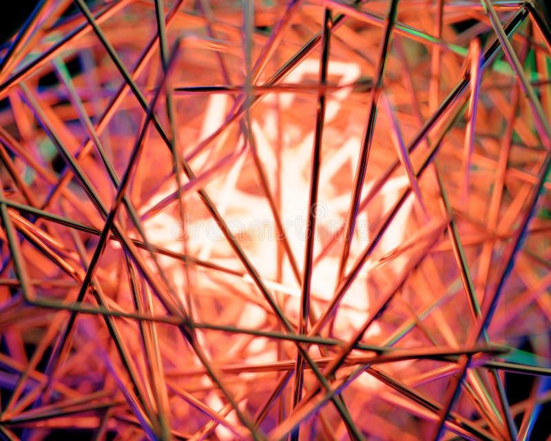 Scène 3d jaunâtre abstraite avec les lampes au néon photo stock