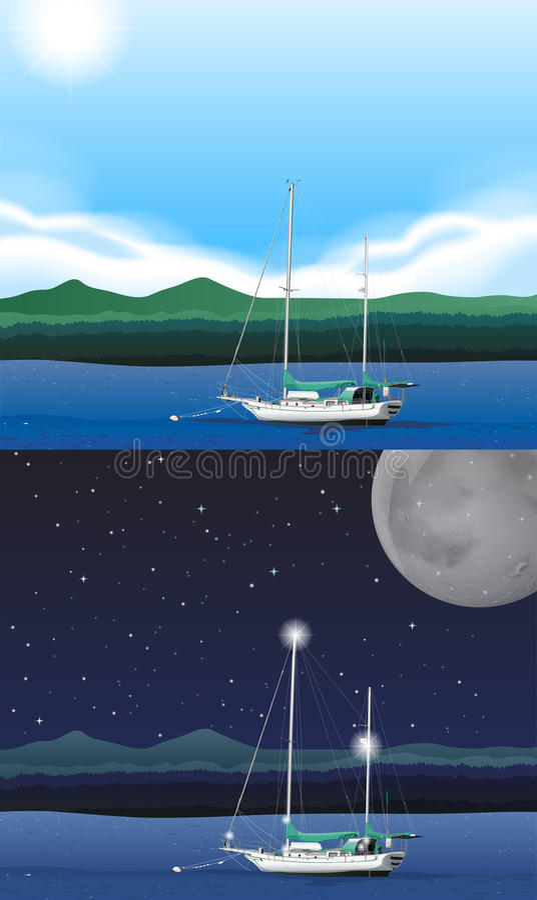 Scène d'océan avec le bateau de pêche illustration de vecteur