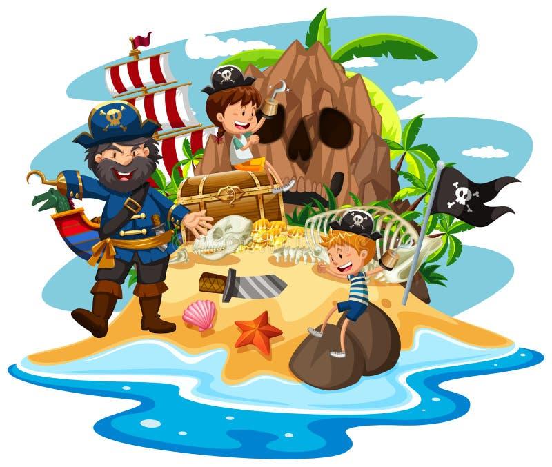 Scène d'océan avec le pirate et les enfants sur l'île de trésor illustration libre de droits