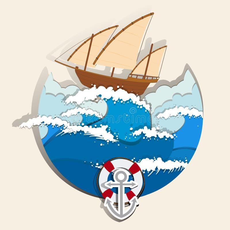 Scène d'océan avec le voilier illustration de vecteur