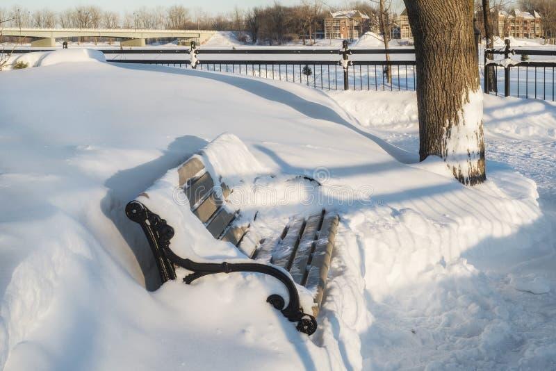 Scène de banc d'hiver de promenade photo stock