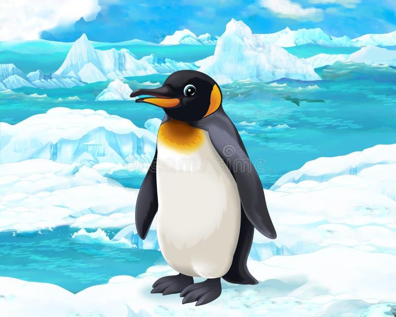 Scène de bande dessinée - animaux arctiques - pingouins illustration libre de droits
