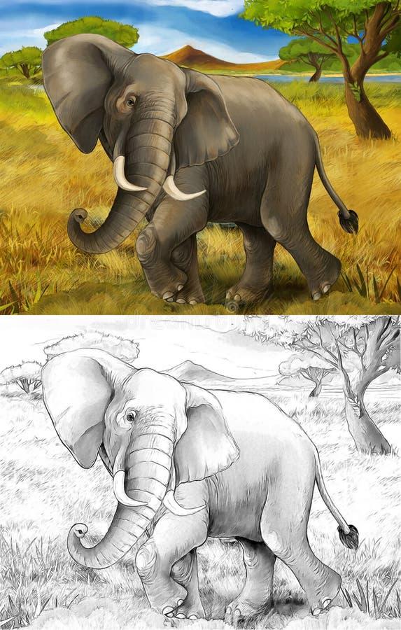 Scène de bande dessinée avec l'éléphant voyageant par le safari de pré photos libres de droits