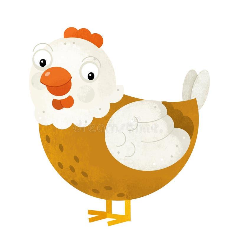 Scène de bande dessinée avec la poule de poulet sur le fond blanc illustration stock