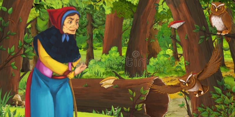 Scène de bande dessinée avec la sorcière ou la sorcière de femme plus âgée dans la forêt rencontrant des paires du vol de hiboux illustration de vecteur