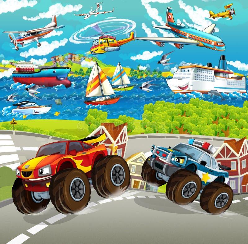 Scène de bande dessinée avec le camion de monstre heureux de police - bateaux et avions à l'arrière-plan illustration stock