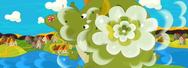 Scène de bande dessinée avec le château médiéval près de la rivière - le dragon est explosion illustration de vecteur