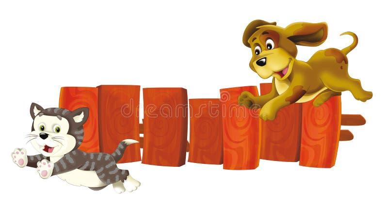 Scène de bande dessinée avec le chien chassant le chat - amis - d'isolement illustration stock