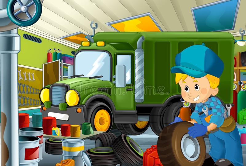 Scène de bande dessinée avec le fonctionnement de mécanicien de garage réparant un certain véhicule - lieu de travail automobile- illustration de vecteur