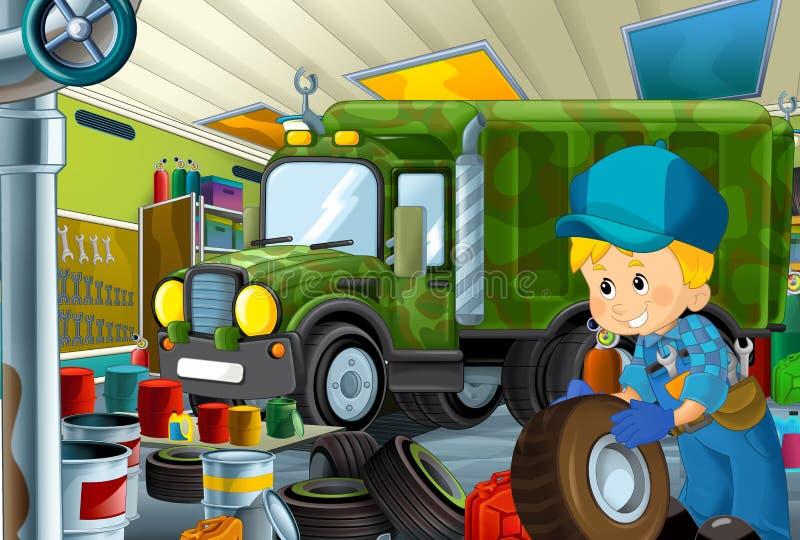 Scène de bande dessinée avec le fonctionnement de mécanicien de garage réparant un certain véhicule - lieu de travail automobile- illustration stock