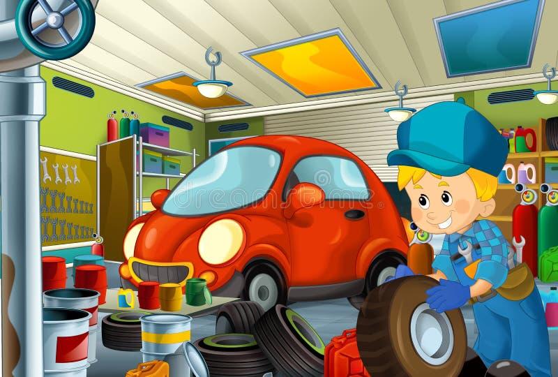 Scène de bande dessinée avec le fonctionnement de mécanicien de garage repearing un certain véhicule - lieu de travail automobile illustration stock