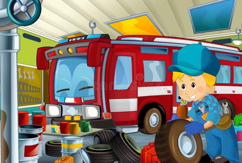 Scène de bande dessinée avec le fonctionnement de mécanicien de garage repearing un certain véhicule - lieu de travail automobile illustration libre de droits